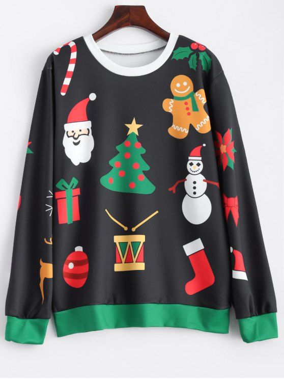 outfit Christmas Snowflake Sweatshirt - BLACK ONE SIZE