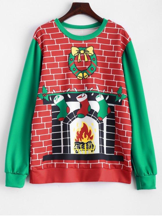 Sweat-shirt imprimé cheminée de Noël - Rouge et Vert TAILLE MOYENNE