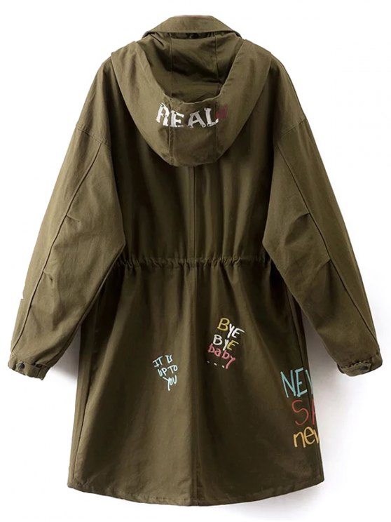 Printed Hooded Lightweight Coat - ARMY GREEN M Mobile