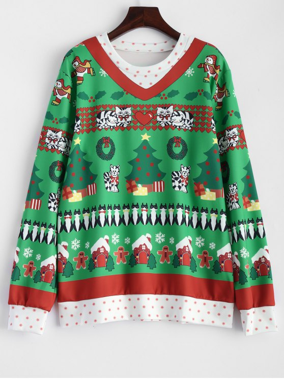 shops Christmas Pattern Pullover Sweatshirt - GREEN ONE SIZE