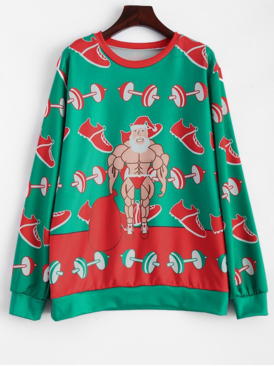 Muscles Santa Claus Sweatshirt - GREEN ONE SIZE Mobile