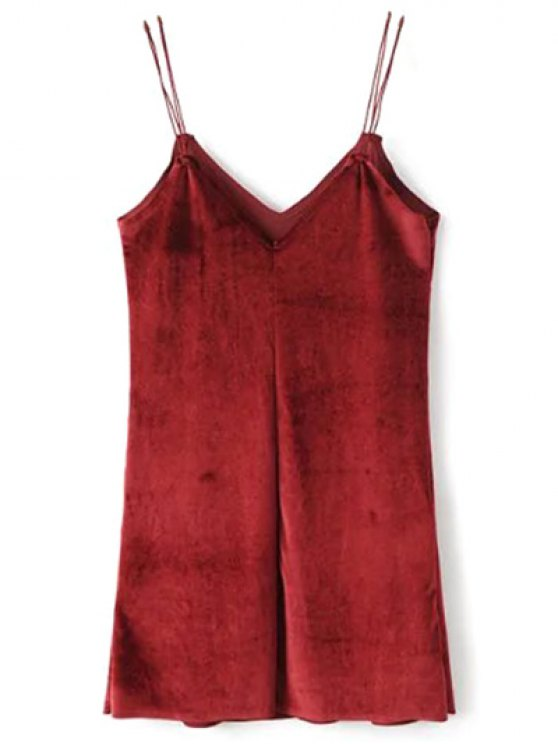 Strapy Velvet Mini Dress - BURGUNDY L Mobile