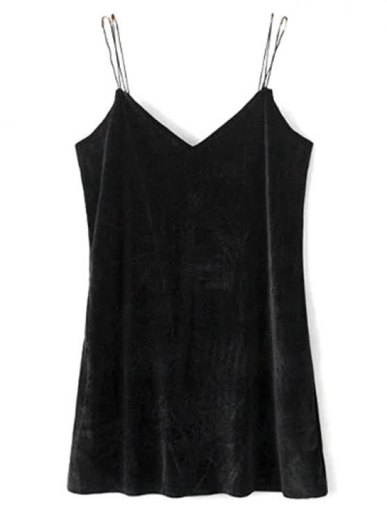 Strapy Velvet Mini Dress - BLACK M Mobile