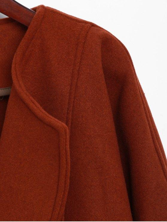 Side Slit Maxi Coat - BRICK-RED ONE SIZE Mobile