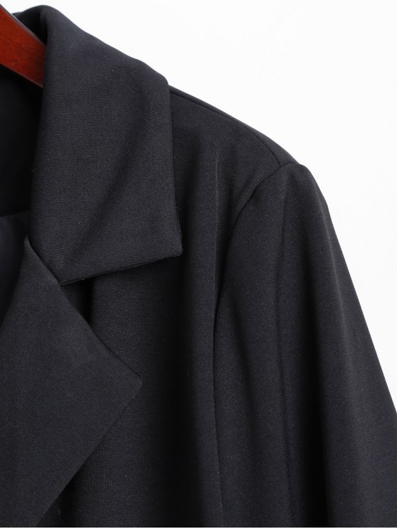 Lapel Collar Dragon Embroidered Coat - BLACK M Mobile