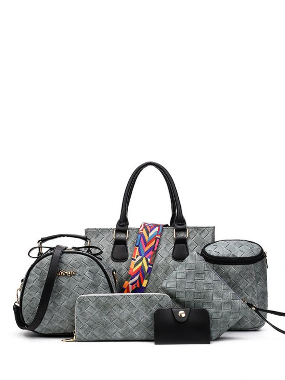 Weaving Handbag With Colored Strap - GRAY  Mobile