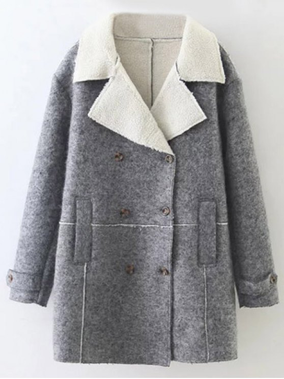 Double Breasted Fleece Lined Coat - GRAY M Mobile
