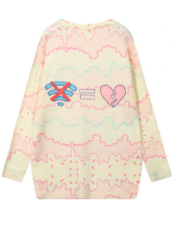 Cartoon Letter Pattern High Low Sweater - COLORMIX ONE SIZE Mobile