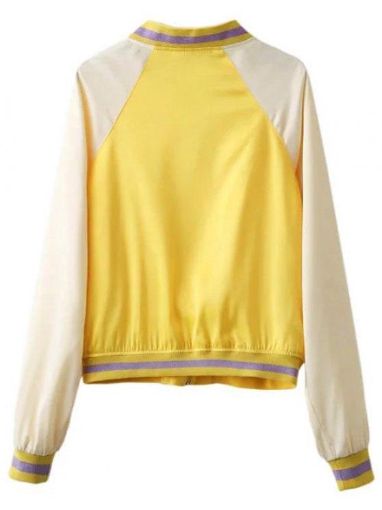 Color Block Zip Up Baseball Jacket - YELLOW S Mobile