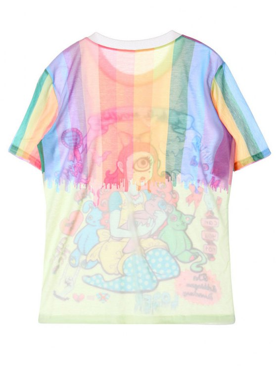 Character Pattern Jewel Neck Tee - COLORMIX ONE SIZE Mobile