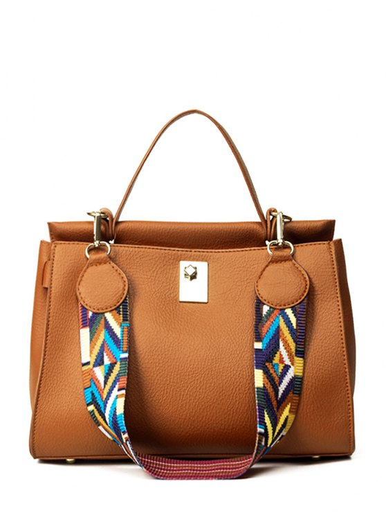 hot Colored Strap PU Leather Handbag - BROWN