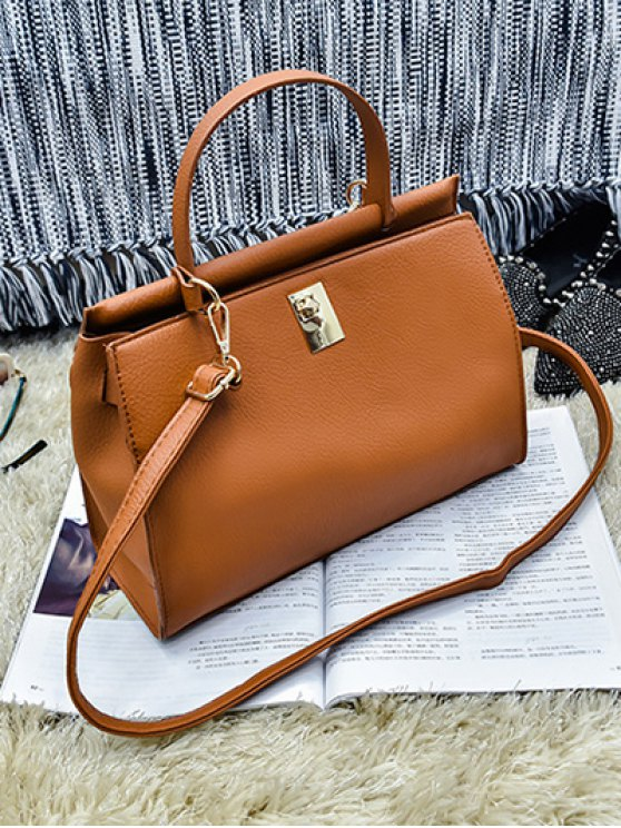 Colored Strap PU Leather Handbag - BROWN  Mobile