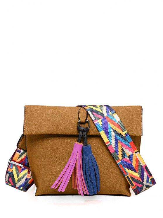 women Tassels Magnetic Closure Colour Block Crossbody Bag - LIGHT BROWN