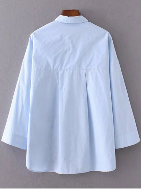 Floral Embroidered Shirt Neck Shirt - AZURE L Mobile