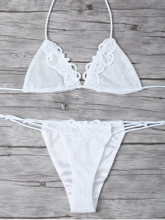 Lace Halter Crochet Bikini Set - WHITE ONE SIZE(FIT SIZE XS TO M) Mobile