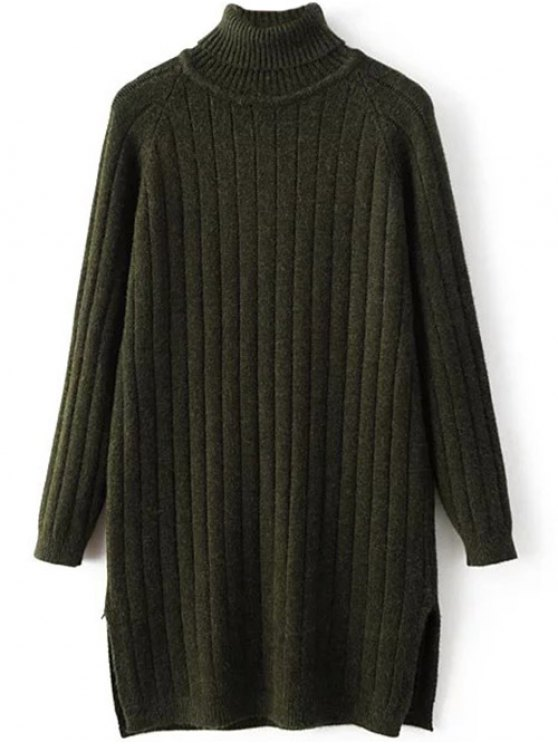 Turtleneck Ribbed Knit Long Sweater - BLACKISH GREEN ONE SIZE Mobile