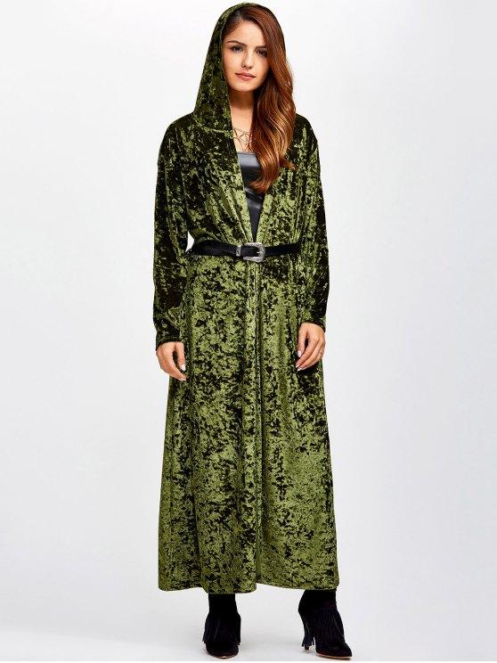 Escudo de terciopelo con capucha Maxi con bolsillos - Verde Única Talla