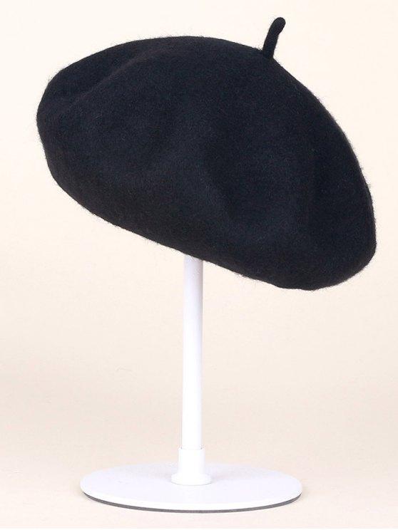 best Autumn Winter Wool Beanie Beret - BLACK