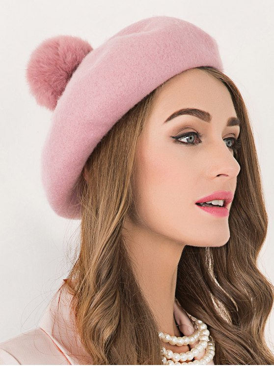 trendy Winter Wool Pompom Ball Beanie Beret - PINK