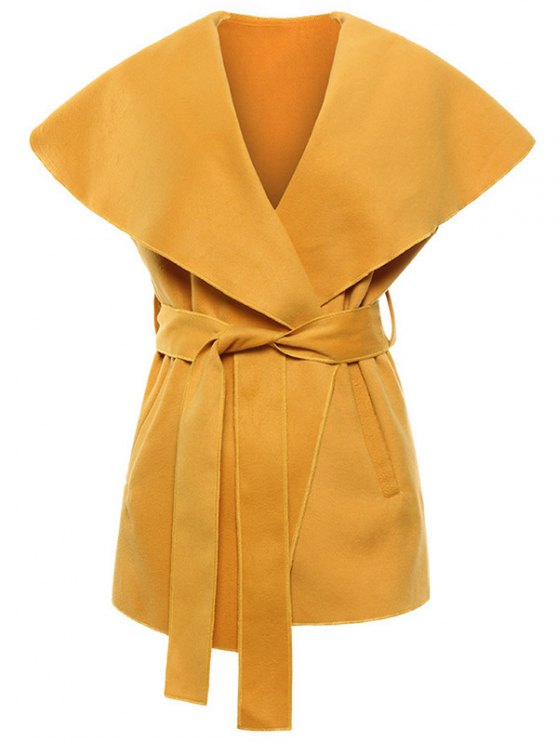 trendy Wool Blend Shawl Collar Belted Waistcoat - YELLOW S