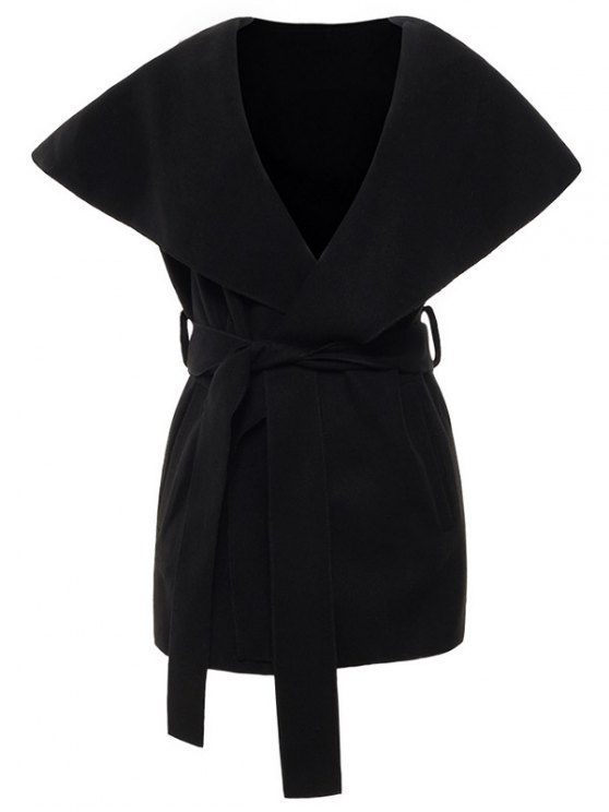 buy Wool Blend Shawl Collar Belted Waistcoat - BLACK M