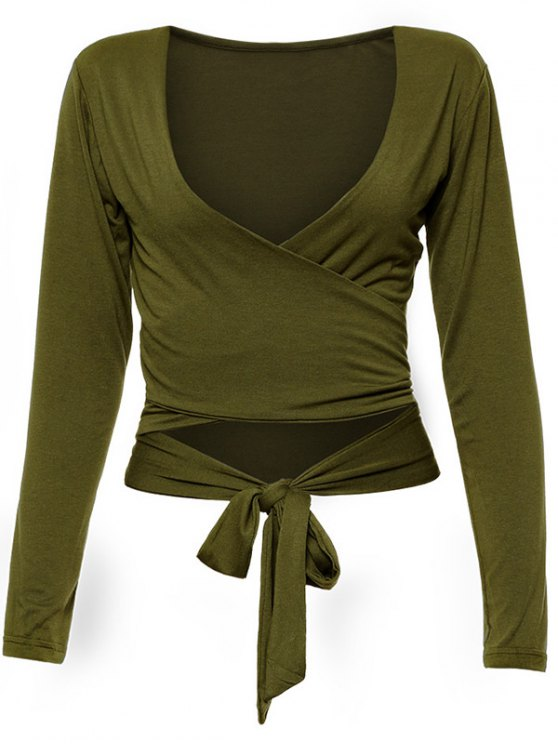 Long Sleeve Wrap Front Criss Cross Crop Top - ARMY GREEN XL Mobile