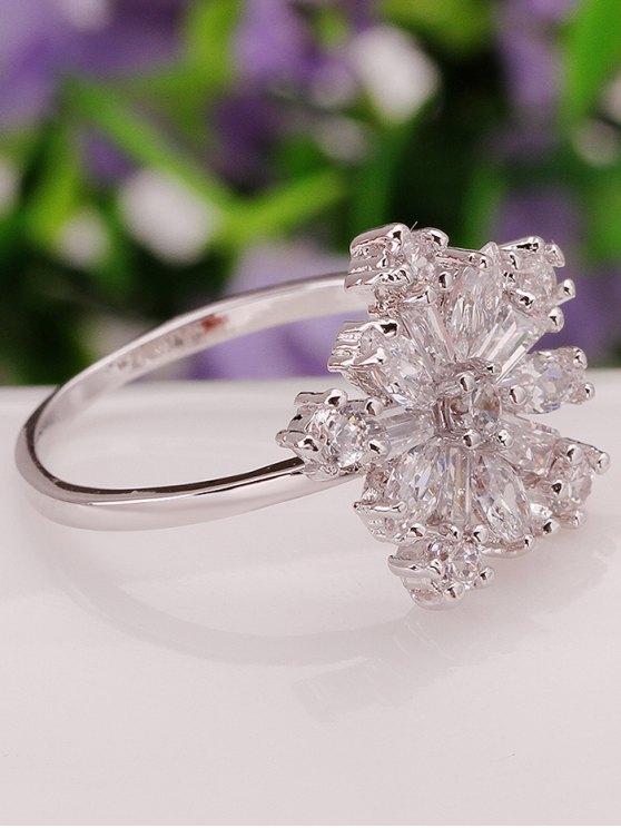 Adorn Rhinestoned Flower Ring - SILVER 8 Mobile