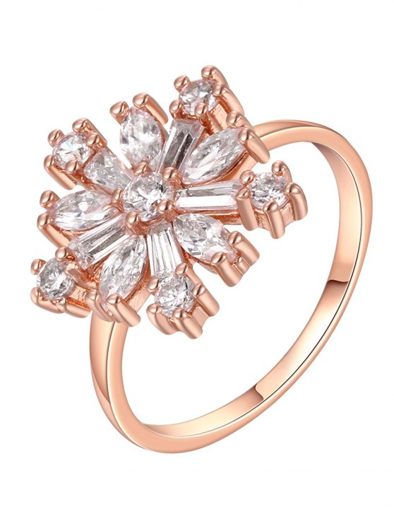 trendy Adorn Rhinestoned Floral Ring - ROSE GOLD 8
