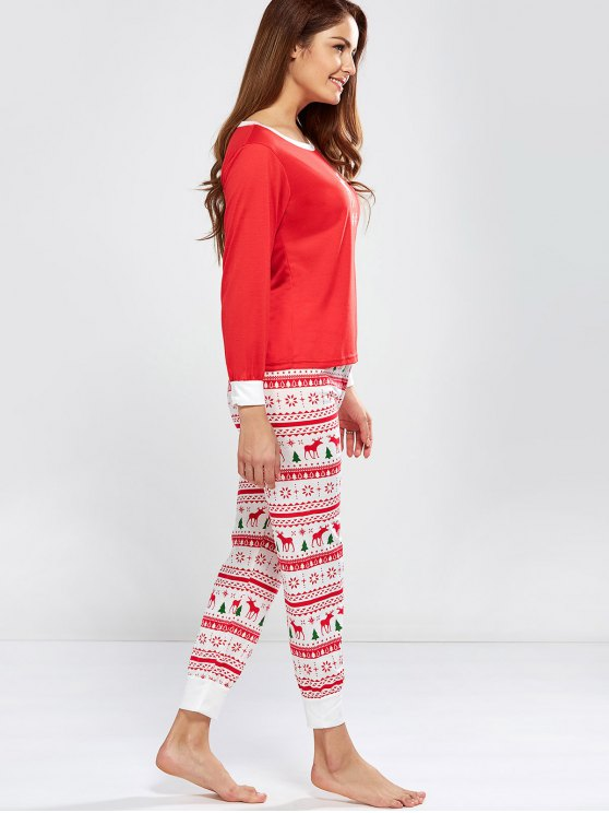 Christmas Deer Print Long Sleeve Pajamas - RED M Mobile