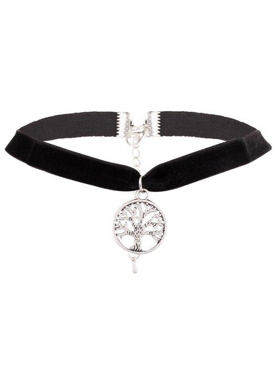 Adorn Life Tree Velvet Choker Necklace - SILVER  Mobile