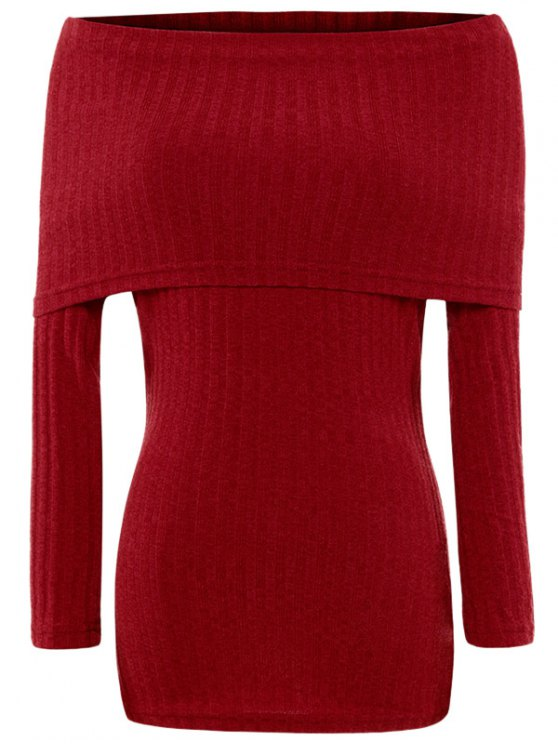 Foldover Off The Shoulder Jumper - RED L Mobile