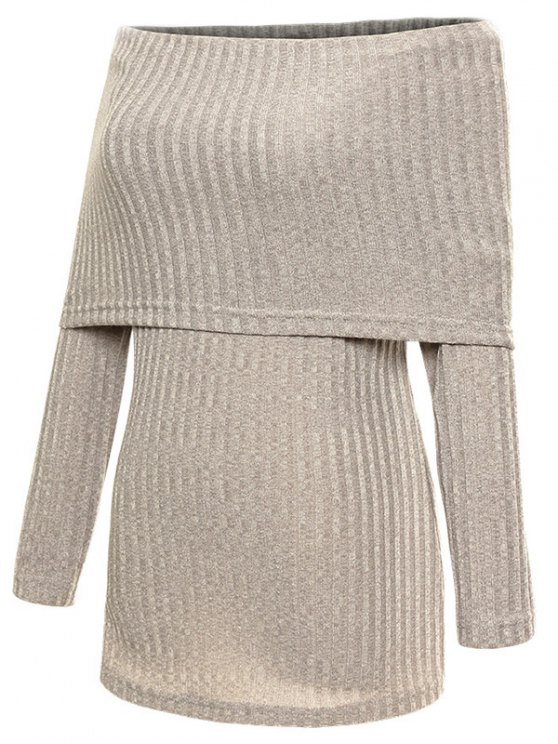 Foldover Off The Shoulder Jumper - GRAY S Mobile