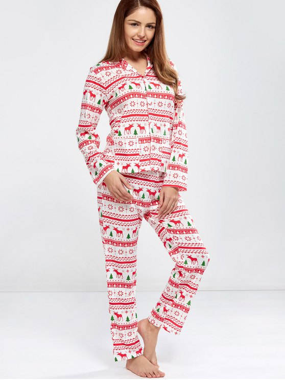 Deer Print Long Sleeve Christmas Pajamas - RED L Mobile