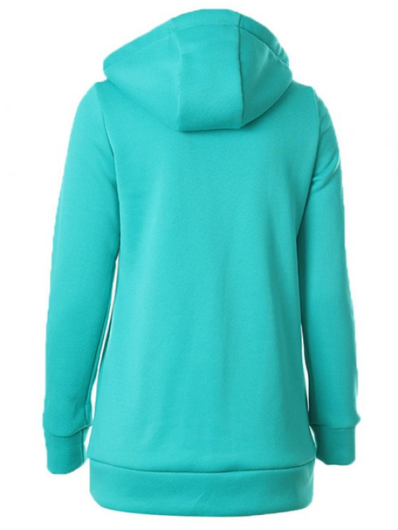 Zipper Embellished Drawstring Hoodie - OASIS 2XL Mobile