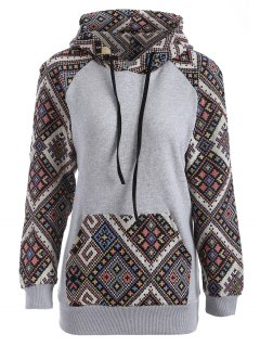 Front Pocket Jacquard Panelled Hoodie - Black And Grey S
