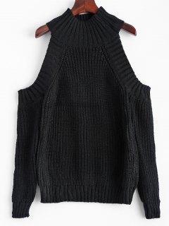 Cold Shoulder Funnel Collar Jumper - Black