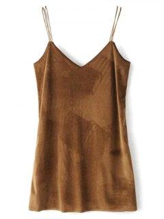 Strapy Velvet Mini Dress - Brown S
