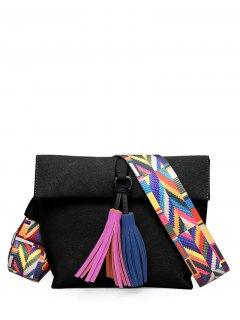 Tassels Magnetic Closure Colour Block Crossbody Bag - Black