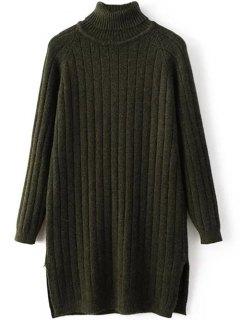 Turtleneck Ribbed Knit Long Sweater - Blackish Green
