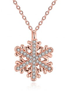 Rhinestoned Christmas Snowflake Necklace - Rose Gold