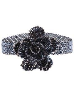 Rose Beads Choker Necklace - Blue