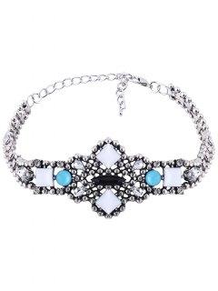 Adorn Faux Gemstone Geometric Choker Necklace - Blue