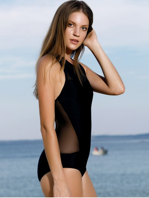 affordable High-Neck See-Through One-Piece Swimwear - BLACK L Mobile
