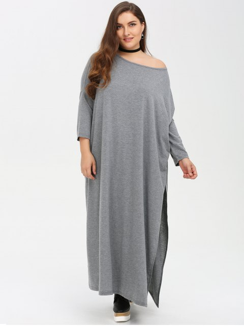 affordable Plus Size High Slit Maxi Dress - GRAY 3XL Mobile