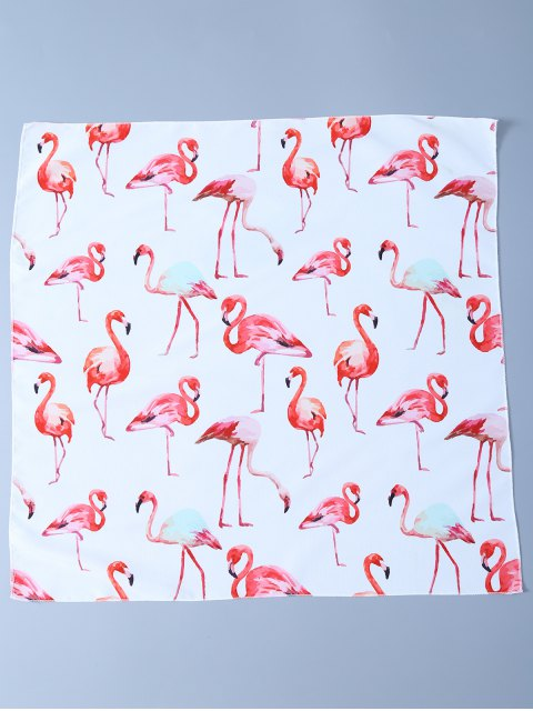 shop Flamingos Print Handkerchief Scarf - WHITE  Mobile