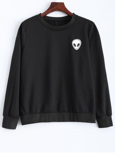 affordable Fitting Skull Sweatshirt - BLACK S Mobile