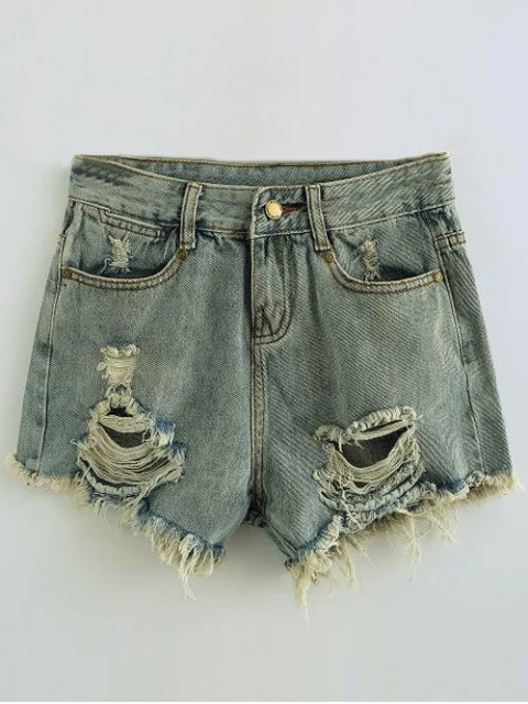 trendy Ripped Denim Hot Pants - LIGHT BLUE S Mobile