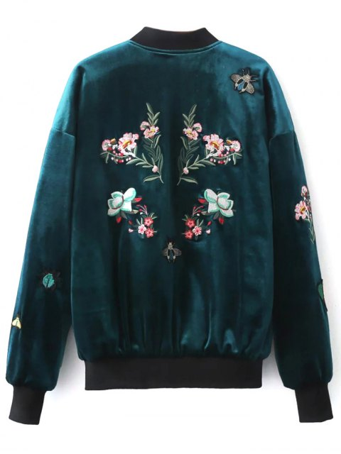 shops Embroidered Single Breasted Velvet Jacket - PEACOCK BLUE S Mobile