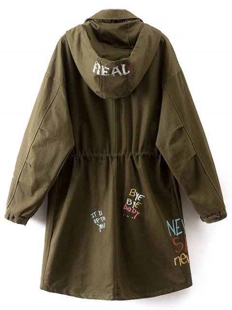 buy Printed Hooded Lightweight Coat - ARMY GREEN S Mobile