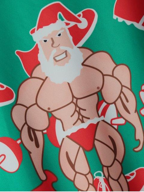 women's Muscles Santa Claus Sweatshirt - GREEN ONE SIZE Mobile